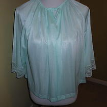 Vintage Aqua Nylon and Lace Sears  Bed Jacket One Size Fits All Photo
