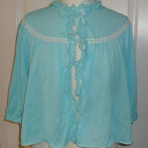 Vintage Aqua  Nylon  Bed Jacket Elbow Length Sleeves M Photo