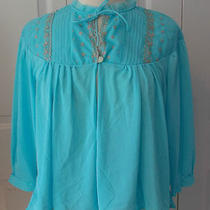 Vintage Aqua  Nylon  Bed Jacket Tucked Bodice L Photo