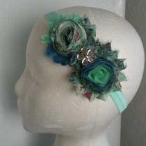 Vintageaquaroyal Bluepeacockshabbyroseflowerphotopropheadband Photo