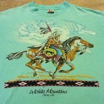 Vintage Aqua Size Xl Native American / Wolf Wichita Mtns Cache Ok T by Signal Photo