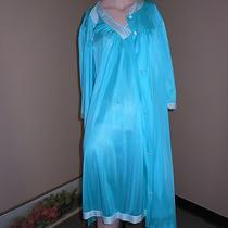 Vintage Aqua Turquoise Nylon Lorraine Matching Short Nightgown and Robe Large Photo