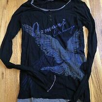 Vintage Armani Exchange Long Sleeve Black and Blue Bird Shirt Xs Photo