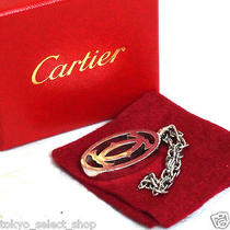 Vintage Auth Cartier 2c Logo Bag Charm/key Chain Ring Silver Metal in Box Photo