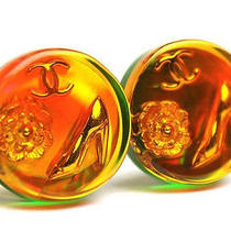 Vintage Auth Pre-Own Chanel Gold Orange Round Aurora Cc Flower Shoes Earrings Photo