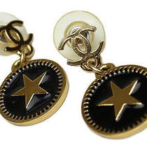 Vintage Authent Preown Chanel Black Star Circe Lcc Swing Earrings Accessories Photo