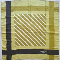 Vintage Authentic 1980s Balenciaga Mustard Yellow/acid Green Silk Scarf 30x30 In Photo