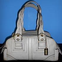 Vintage Authentic Coach Leather Satchel Handbag Cream Ivory Parchment Color Photo