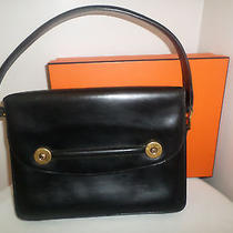 Vintage  Authentic Hermes Floride Piano Bag Black Box Leather   Hermes Box Photo