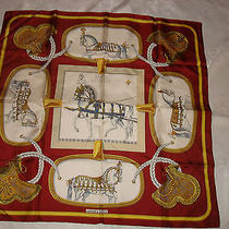 Vintage Authentic Hermes Silk Scarf Grand Apparat Jacques Eudel Burgundy France Photo