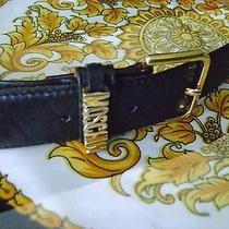 Vintage Authentic Moschino Redwall Black Monogram Belt 401141 - Sz 44 Photo