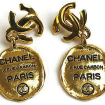 Vintage Authentic Pre-Own Chanel Gold Rue Cambon Address Earrings Paris Cc Swing Photo