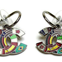 Vintage Authentic Pre-Own Chanel Multi National Flag Patterned Coco Cc Earrings Photo