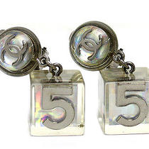 Vintage Authentic Pre-Owned Chanel Aurora Swing Square Earrings   Photo