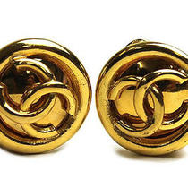 Vintage Authentic Pre-Owned Chanel Big Gold Colour Cc Coco Mark Circle Earrings Photo