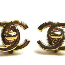 Vintage Authentic Pre-Owned Chanel Big Gold Colour Cc Coco Mark Logo Earrings Photo