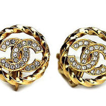 Vintage Authentic Pre-Owned Chanel Circle Gold Colour Bijou Coco Mark Earrings Photo