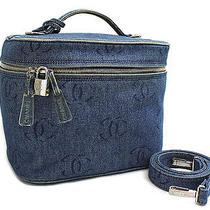 Vintage Authentic Pre-Owned Chanel Denim Indigo Cc Logo Vanity 2 Way Handbag Bag Photo