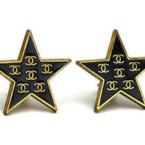 Vintage Authentic Pre-Owned Chanel Gold Color Cc Mark Logo Black Star Earrings Photo