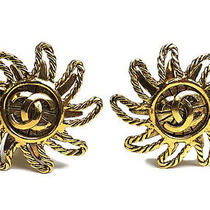 Vintage Authentic Pre-Owned Chanel Gold Sun Flower Motif Cc Coco Mark Earrings Photo