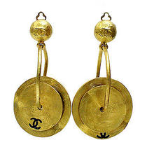 Vintage Authentic Pre-Owned Chanel W Plate Swing Earrings  Photo