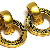 Vintage Authentic Pre-Owned Moschino Gold Circle Round Be Good Il Buon Earrings Photo