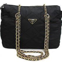 Vintage Authentic Pre-Owned Prada Black Nylon Golf Chain Shoulder Bag Quilting Photo