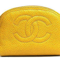 Vintage Authentic Preown Chanel Yellow Caviar Skin Cc Coco Mini Pouch Vanity Bag Photo