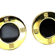 Vintage Authentic Preown Givenchy Embossed Logo Gold Black Round Circle Earrings Photo
