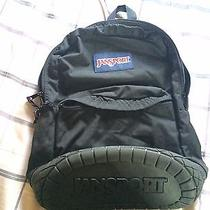 Vintage Authentic Rugged Rubber Tread Bottom Jansport Backpack. Black Photo