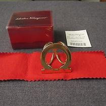Vintage Authentic Salvatore Ferragamo Made Italy Golden Metal Scarf Ring in Box Photo