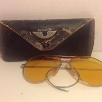Vintage Aviator Sunglasses Yellow Amber Lens Pink Accents Chrome Frame in Case Photo