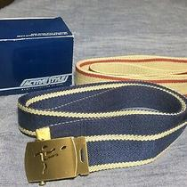 Vintage Avon 1984 Canvas Navy & Taupe Convertible Belt With Soccer Player Buckle Photo