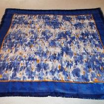 Vintage Avon Anew Scarf Beautiful Blues White and Golds 35 Inch With Fringe Photo