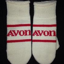 Vintage Avon Cream and Red Mittens Size Small Wrist Winter Accessory Photo