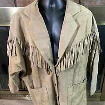 Vintage Avon Fashions Tassel Brown Leather Motorcycle Jacket Coat Womens Large  Photo