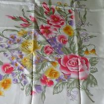 Vintage Avon Flowers Polyester Scarf. Made in Italy Photo