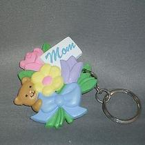Vintage Avon Gift Collection Mom Keychain - Teddy Bear and Flowers - New Photo
