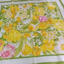 Vintage Avon Green and Yellow Daffodils Square Scarf 27