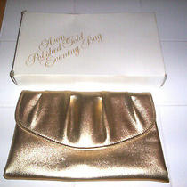 Vintage Avon Polished Gold Evening Bag Gold-Leather Look Clutch Purse 1978 Nos Photo
