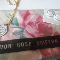 Vintage Avon Rose Chiffon Scarf Neck Earrings Pierced Necklace new.vtg...zz6 Photo