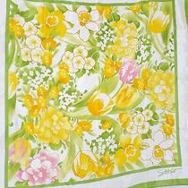 Vintage Avon Scarf Green & Yellow Daffodil Floral Water Repellent Sm Kent  Photo
