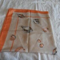 Vintage Avon Square Scarf Orange Edge Shells on Beige  Made in Italy Photo