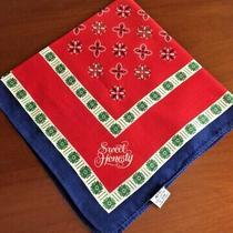Vintage Avon Sweet Honesty Bandana Scarf Red Blue Green Cotton Japan 21x21