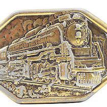 Vintage Avon Train Brass Belt Buckle Locomotive Railway Railroad 13a Photo