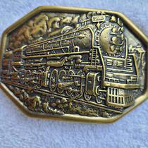 Vintage Avon Traveling Man Americana Train Brass Plated Belt Buckle Accessory Photo