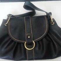 Vintage Axcess Liz Claiborne Black Faux Leather Hand Tote Satchel Purse Bag Photo
