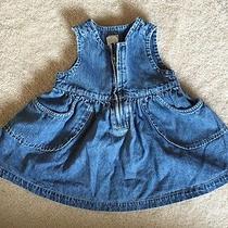 Vintage Baby Gap Denim Zippered 100% Cotton Coverall Dress 3 6 Months Ecu Photo