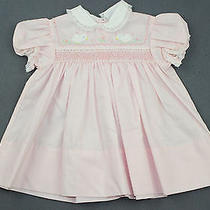 Vintage Baby Girl Dress 9 Months Carraige Boutiques Pink Smocking Duck Farm Doll Photo