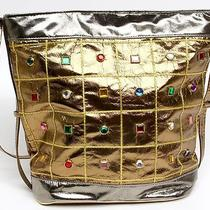 Vintage Baikal New York Gold Silver Rhinestone Bedazzled Hobo Tote Bag Purse Photo